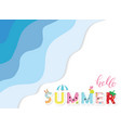 summer paper cut out banner 3d waves layers vector image