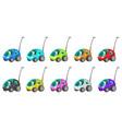 tiny antenna cars cartoon design element vector image