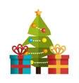 tree and box gift merry christmas design vector image