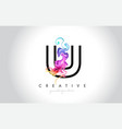 u vibrant creative leter logo design with vector image