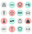vehicle icons set with school bus airplane vector image