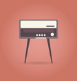 vintage radio flat icon on red background vector image vector image