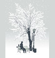 winter landscape with man and cat in park vector image