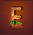 wooden letter f decorated with grass vector image