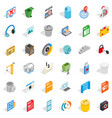 working file icons set isometric style vector image vector image