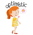 young optimistic girl white background vector image vector image