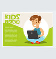 smiling teenager boy sitting with laptop on his vector image