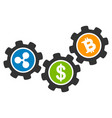 cryptocurrency process gears flat icon vector image