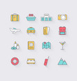 Line icons set in flat design Elements of Vacation vector image