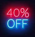 40 percent off neon lettering on brick wall vector image vector image