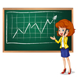 A girl using her phone in front of the board vector image vector image