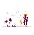 attractive woman plus size holding a surfboard vector image