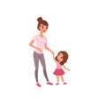 beautiful young mother and her little daughter vector image vector image
