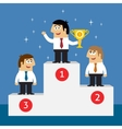Business life employees on winners podium vector image