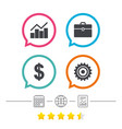 business signs graph chart and case icons vector image
