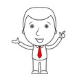 businessman line cartoon pointing his finger up vector image vector image