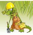 cartoon character cheerful crocodile in working vector image vector image