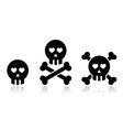 Cartoon skull with bones and hearts icon vector image vector image