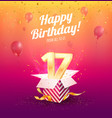 celebrating 17 th years birthday vector image vector image
