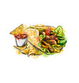 chips with a tortilla nachos with sauces vector image