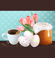 coffee and easter traditional sweet bread vector image vector image
