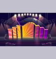 concert stage illuminated spotlights vector image