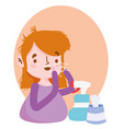 coughing girl with paper box and hand sanitizer vector image vector image