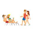 Couple in swimsuit sunbathing leisure