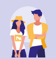 couple professional models characters vector image