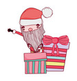 cute christmas santa claus with gift present vector image