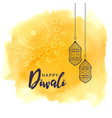 diwali festival lamps greeting with yellow vector image vector image