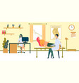 doctor examining belly pregnant woman in room vector image vector image