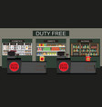 duty free store with counter cashier vector image vector image