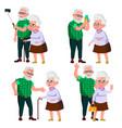 elderly couple set modern grandparents vector image