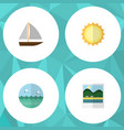 flat icon summer set of sunshine yacht ocean and vector image vector image
