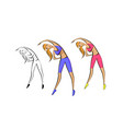 girl is engaged in fitness helth emblem vector image vector image