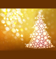 gold background with christmas tree vector image