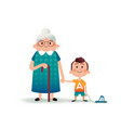 grandmother and grandson holding hands little boy vector image vector image