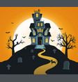 halloween background with castle and full moon vector image
