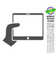 hand holds tablet icon with set vector image vector image