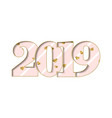 happy new year card pink number 2019 gold hearts vector image