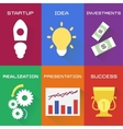 icons of business process in flat style vector image