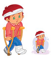 little boy on a crutch with a leg in a vector image