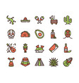 mexico items color linear icons set vector image