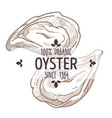 oyster emblem seafood organic ingredients menu vector image