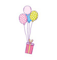 party balloons helium with gifts vector image vector image