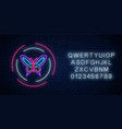 purple batterfly glowing neon sign in round vector image vector image