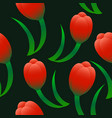 red tulips seamless pattern vector image
