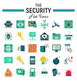 security flat icon set cyber protection signs vector image