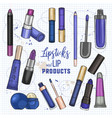 set lipsticks and lip glosses vector image